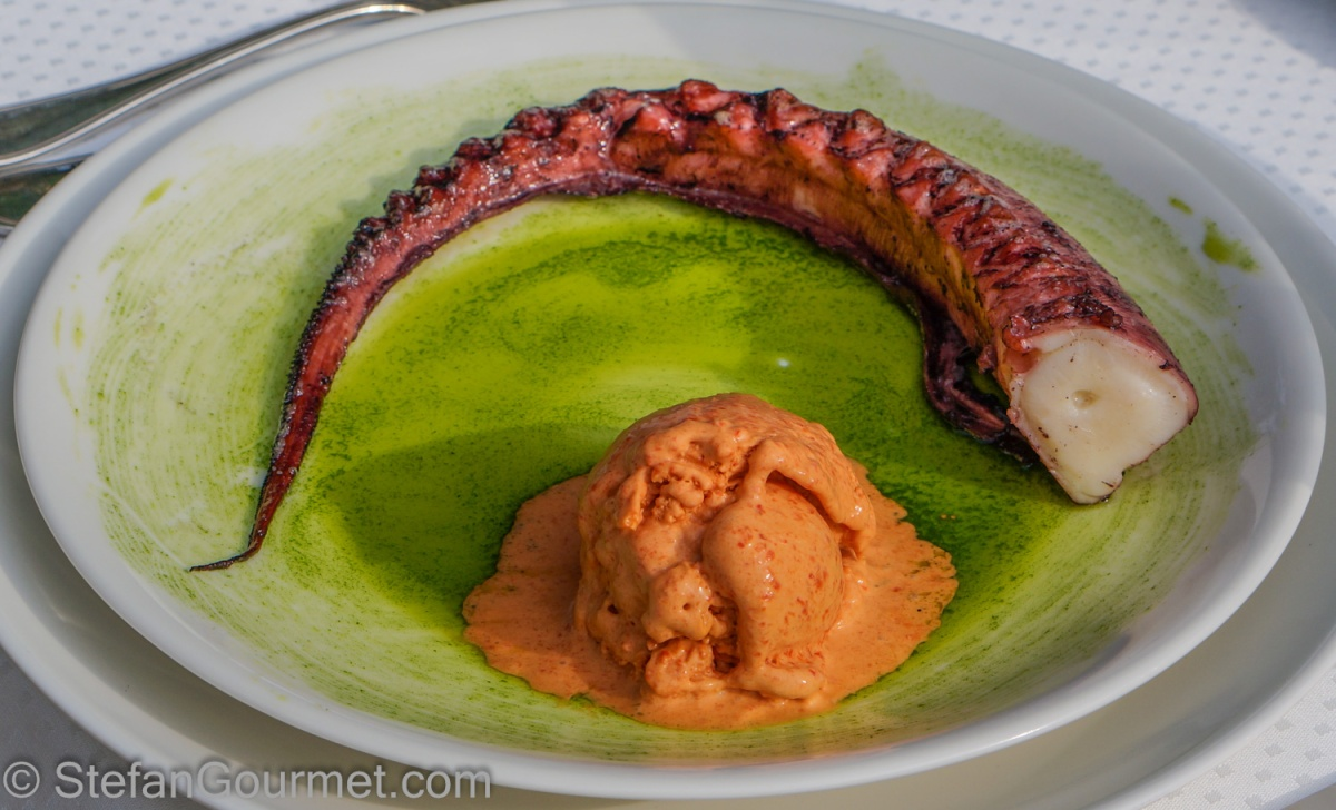 Grilled Octopus with Roasted Bell Pepper Ice Cream | Stefan's Gourmet ...