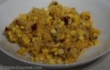 Double Corn Polenta with Ham and PickledChipotles