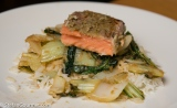 Salmon Sous-Vide with Thai Green Curry Paste and Bok Choy