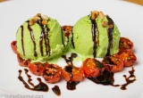 Basil Ice Cream with Tomato Confit, Mozzarella and Balsamic Syrup