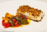Breaded Wolffish with Anchovy-Braised Peppers