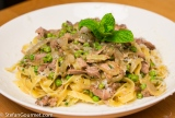 Pasta with Lamb, Peas and Mint (Tagliatelle al Ragù di Agnello, Piselli e Menta)