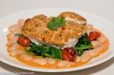 Shrimp-Crusted Grouper with Spinach and Butter Beans
