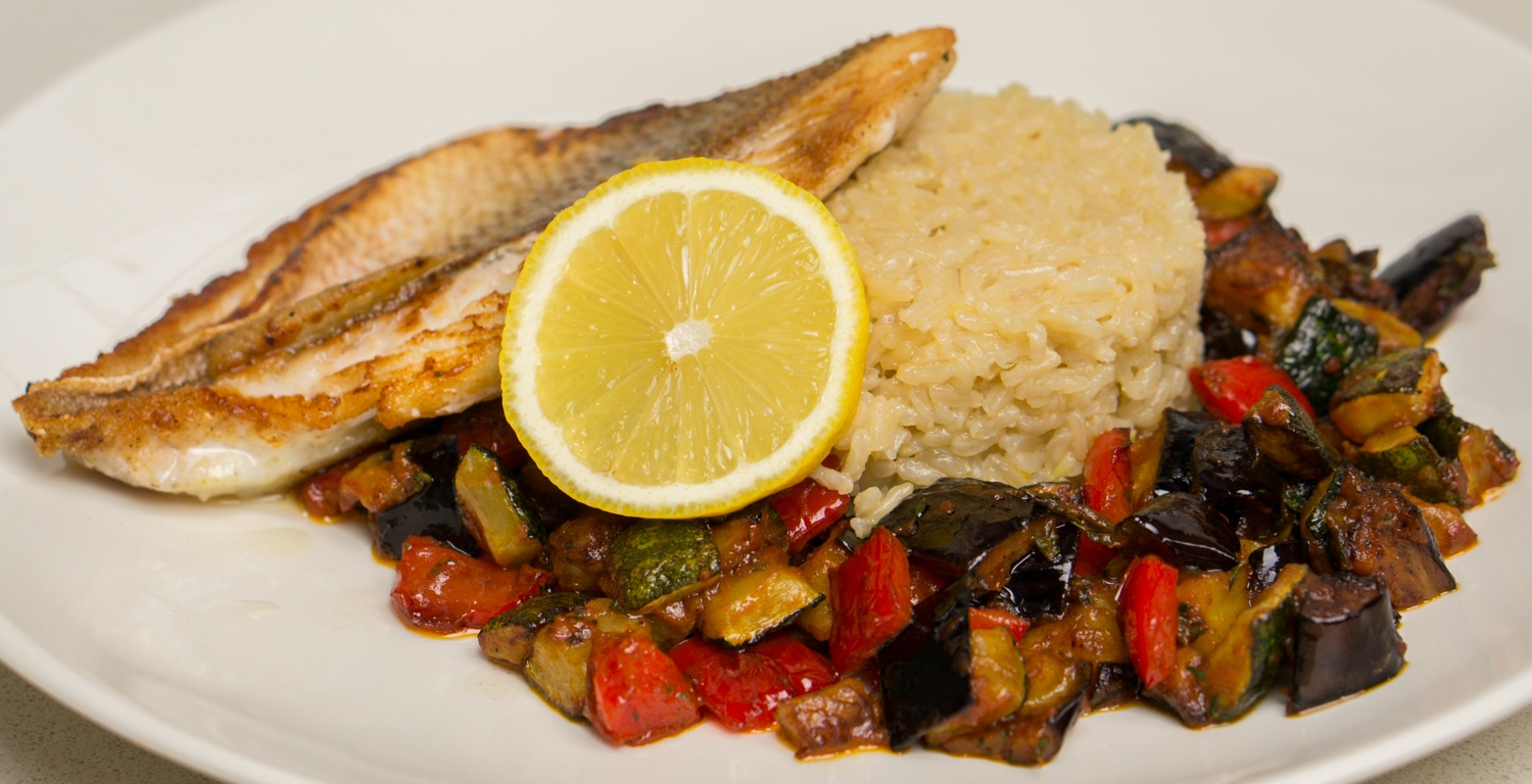 Sea Bream With Crunchy Ratatouille And Flavored Brown Rice