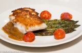 Crab-Crusted Halibut with Asparagus and MadeiraSauce