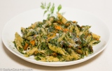 Pasta with Roasted Carrots and Carrot Tops Pesto