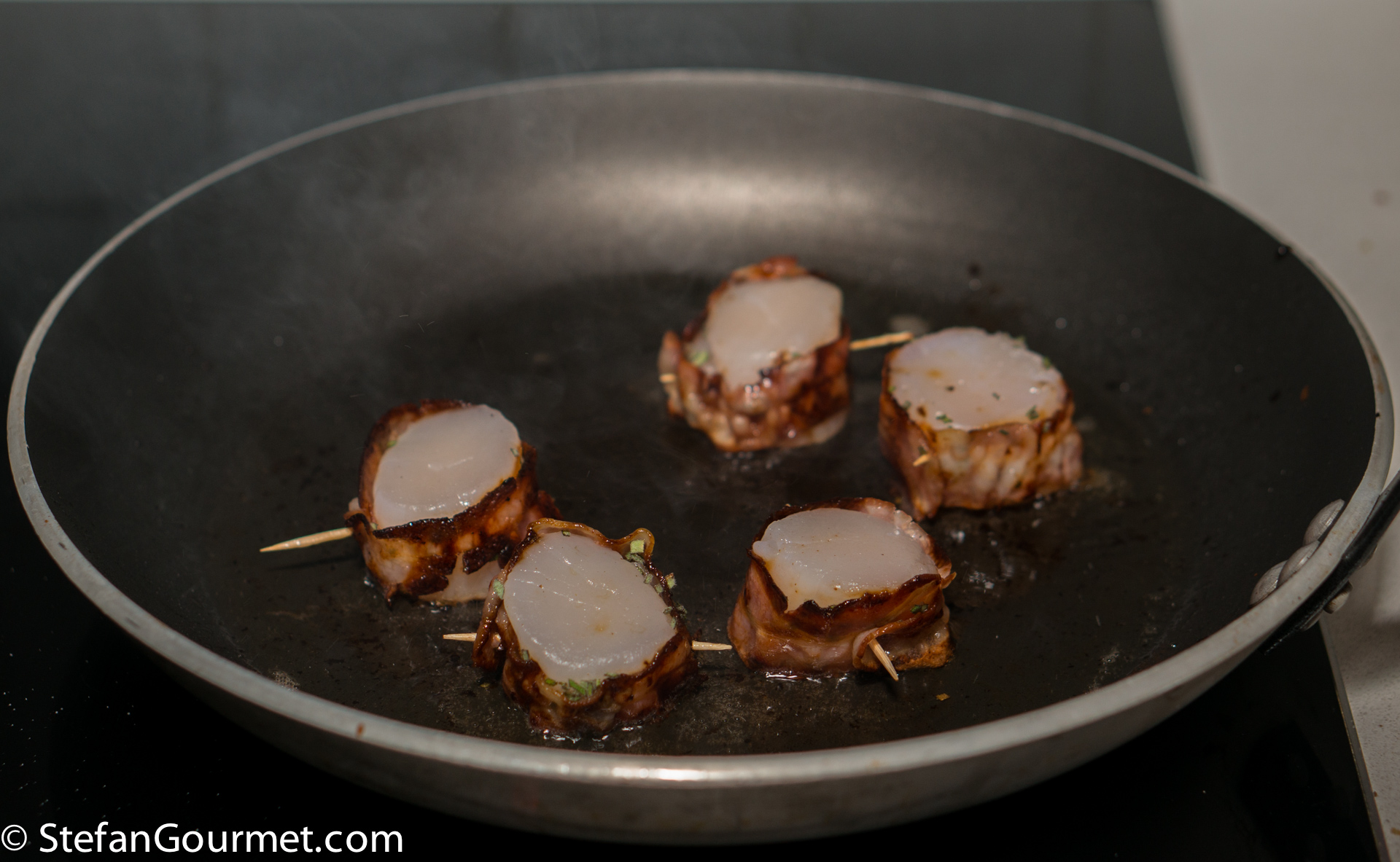 When The Butter Is Very Hot, Add The Baconwrapped Scallops