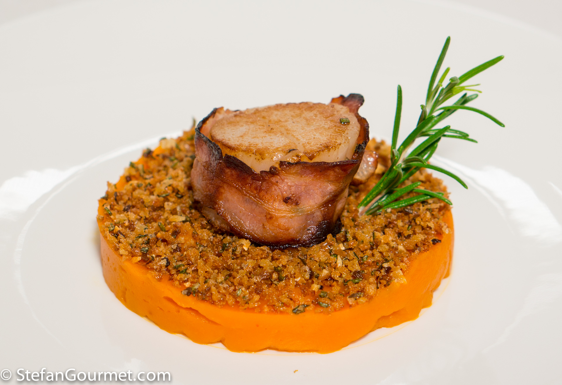 Serve The Baconwrapped Scallops On Top Of The Pumpkin And Breadcrumbs