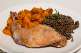 Roasted Pumpkin, Lentils, and Rabbit with Rosemary