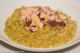 Split Pea Risotto with Hot Smoked Salmon